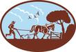 Farmer and horse plowing farm