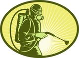 Pest control exterminator spraying side view poster