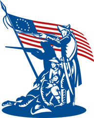 American patriots fighting with Betsy Ross flag