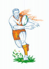 Drawing of a Rugby player running and passing ball