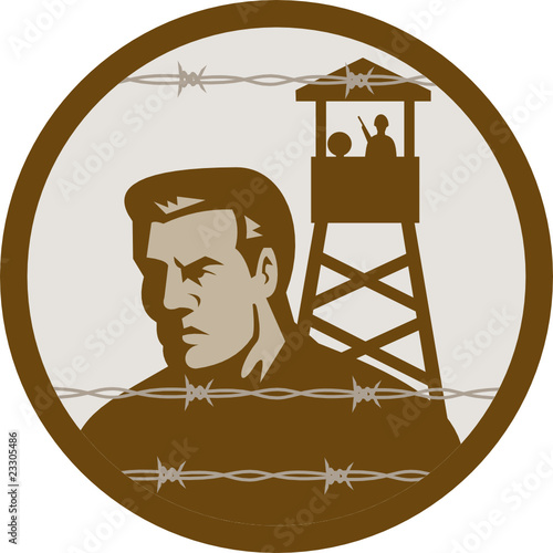 Prisoner of war concentration camp guard tower