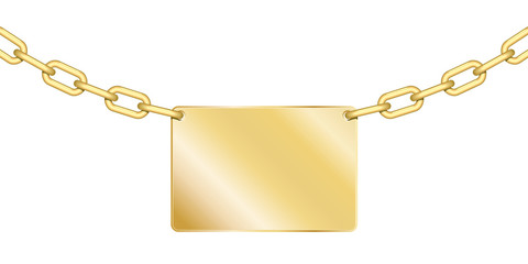 Ensemble chaines et plaquette en or