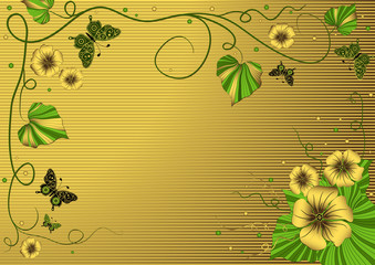Decorative floral gold frame