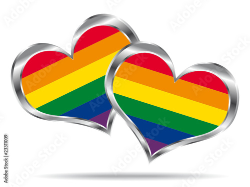 Two hearts with lgbt flag