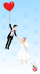 Just married couple flying with a heart shaped balloon