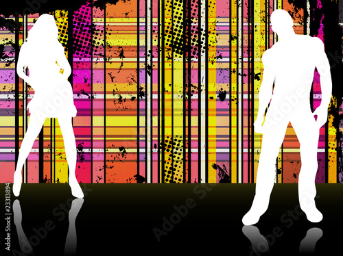 Sexy couple silhouettes in front of striped background.