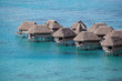 Water bungalows in Moorea. French Polynesia