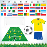 Soccer set-soccer field, soccer ball, uniform, lawn, flags