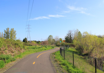 Power line park bike path, walk route
