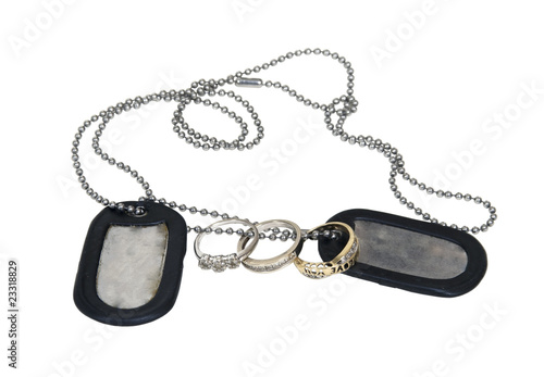 Poster Military Dog Tags and Wedding Ring