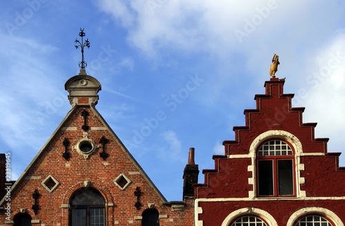 Ornate roofs in Bruges, Belgium