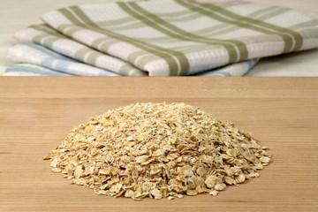 oat flakes on wood board