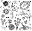set of doodle flowers