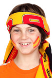 Child fan of the Spanish team with a scarf on the forehead poster