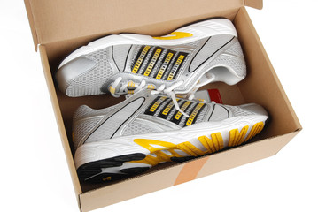 sport shoes in box