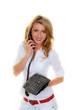 Frau am Telefon einer Kunden Service Hotline