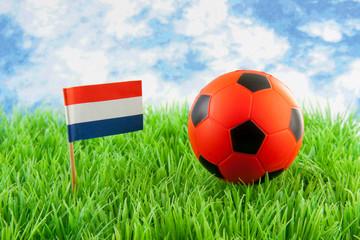 Orange ball and Dutch flag on soccer field