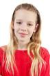 Leinwanddruck Bild - portrait of a girl over white background