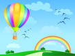 Mongolfiera ed arcobaleno