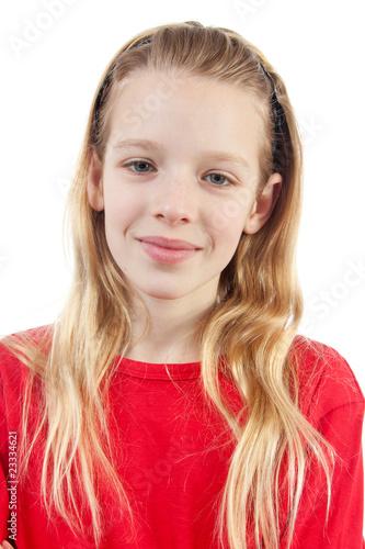 Leinwanddruck Bild portrait of a girl over white background