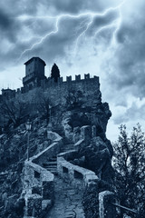 scary castle into the storm