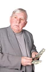 Elderly man considers money