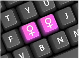 LESBIAN Keys on Keyboard (gay homosexual orientation sex pride)