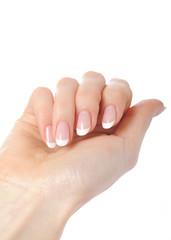 Beautiful hands with perfect nail french manicure. isolated