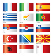 Glossy flags - Southern Europe