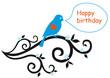 happy birthday card with lovebird