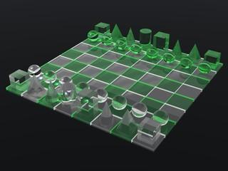luminous green glass chess board and chess set
