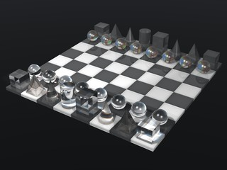 glass chess board and chess set