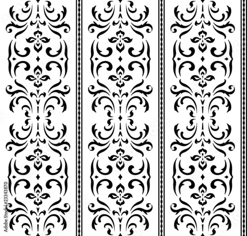 Seamless damask wallpaper pattern (Vector)