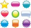 Set of glossy icons – web 2.0 vector buttons and shapes