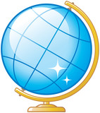 Geography and travel. Globe vector illustration poster