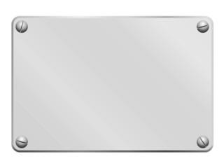 Plaque en métal blanc visée