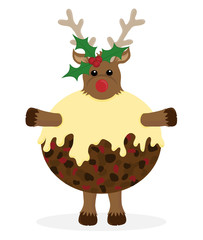 Rudolf Reindeer character dressed as a Christmas Pudding