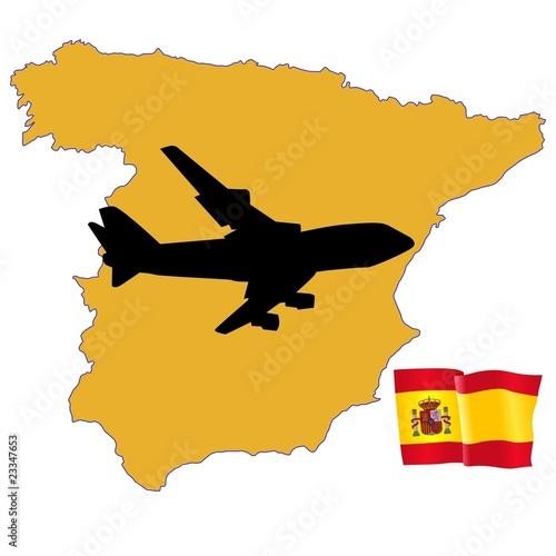 国旗地图彩色旅游业有色西班牙象徵载体飞机飞翔飞行