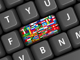 WORLD FLAGS key on keyboard (soccer travel button) poster