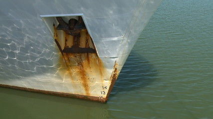 Bow of the ship and anchor in harbor
