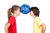Children holding a ball with their foreheads poster