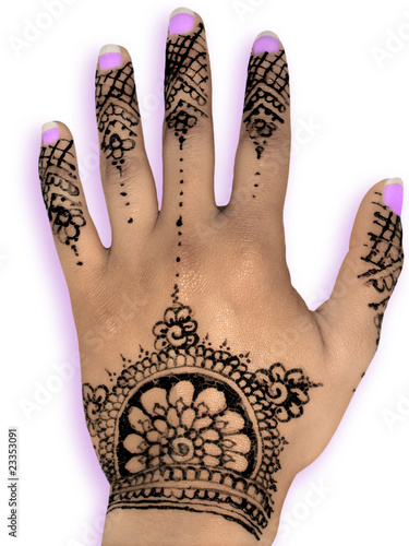 Henna hena mehendi design isolated purple nails and shadow