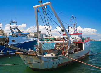 Boats in port. Molfetta. Apulia.