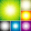 Vector illustration of radial rays abstract background set.