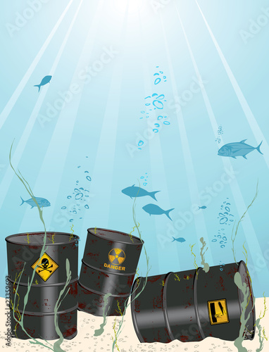 oil and chemical barrel into the sea