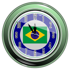 Clock with a flag of Brazil