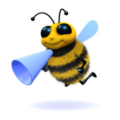 3d Bee shouts  through megaphone