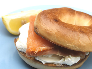 Salmon and Soft Cheese Bagel