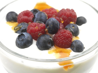Natural Yoghurt with Blueberries, Raspberries and Honey