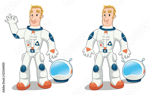 Astronaut in two poses. Cartoon and vector isolated character.